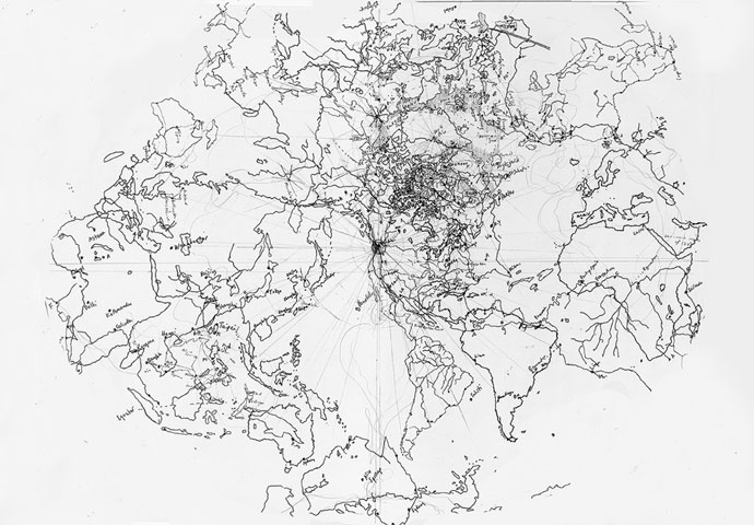 """Untitled map drawing"" (2009, ink on paper, 50 x 60 cm) by Landon Mackenzie"