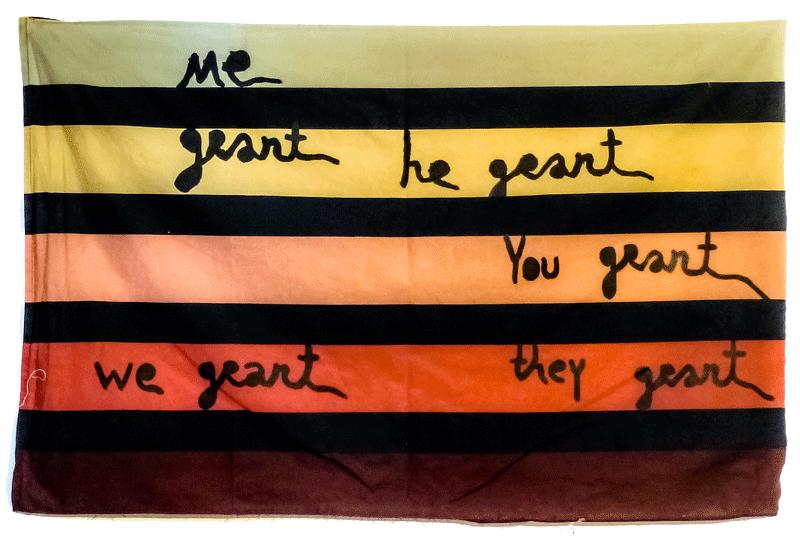 Babi Badalov,Me Grant He Grant, 2015, Peinture sur tissu Courtesy galerie Jérôme Poggi, Paris