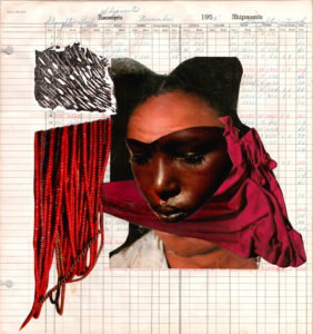 the last place they thought of, Krista Franklin, Collage on ledger, paper 16 x 17 in, 2017